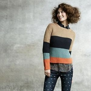 Anthro SPARROW Olaf Stripe Colorblocked Sweater D3